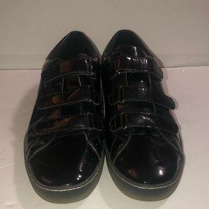 Micheal Kors Velcro straps black shiny shoes